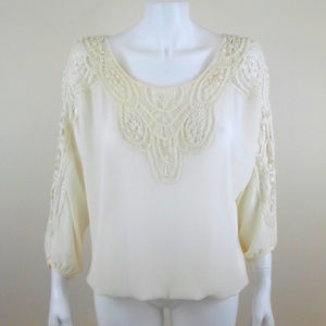Poetry Peasant Blouse Lace Trim 3/4 Sleeve A1